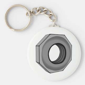 Hex Nut Basic Round Button Keychain
