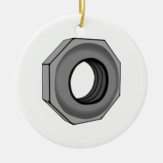Hex Nut Round Ceramic Ornament
