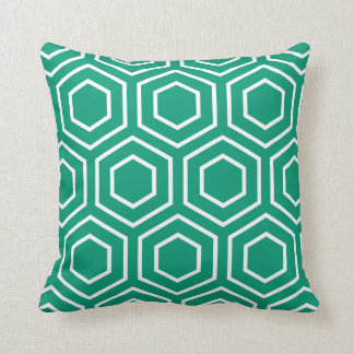 Hex Pattern Geometric Pillow in Emerald Green