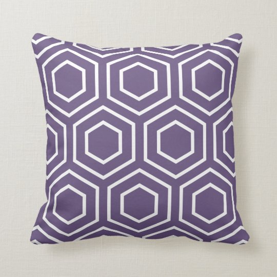 Hex Pattern Geometric Throw Pillow in Purple