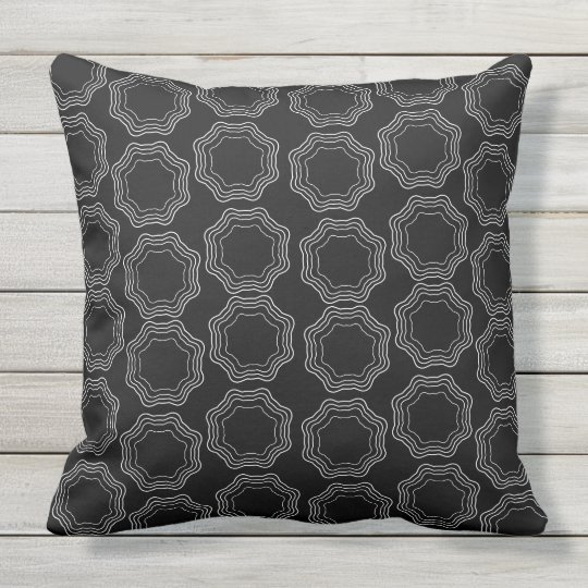 Hexa black and white throw pillow