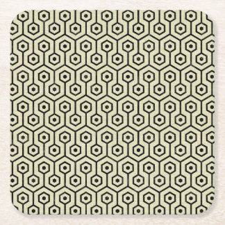 HEXAGON1 BLACK MARBLE & BEIGE LINEN (R) SQUARE PAPER COASTER