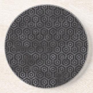 HEXAGON1 BLACK MARBLE & BLACK WATERCOLOR COASTER