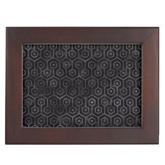 HEXAGON1 BLACK MARBLE & BLACK WATERCOLOR KEEPSAKE BOX