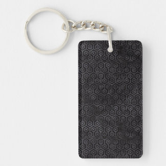 HEXAGON1 BLACK MARBLE & BLACK WATERCOLOR KEYCHAIN