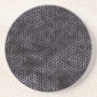 HEXAGON1 BLACK MARBLE & BLACK WATERCOLOR (R) COASTER