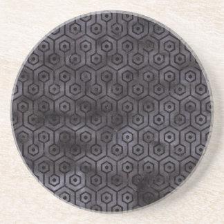 HEXAGON1 BLACK MARBLE & BLACK WATERCOLOR (R) DRINK COASTERS