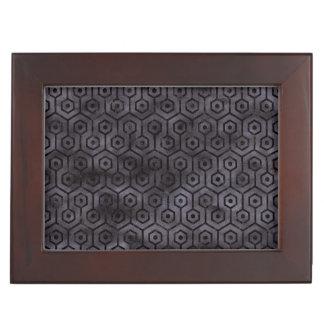 HEXAGON1 BLACK MARBLE & BLACK WATERCOLOR (R) KEEPSAKE BOX