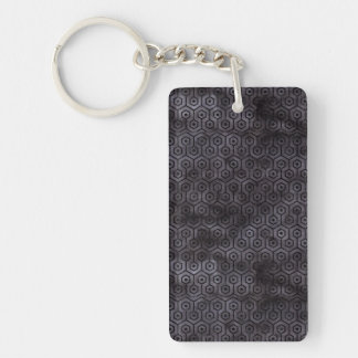 HEXAGON1 BLACK MARBLE & BLACK WATERCOLOR (R) KEYCHAIN