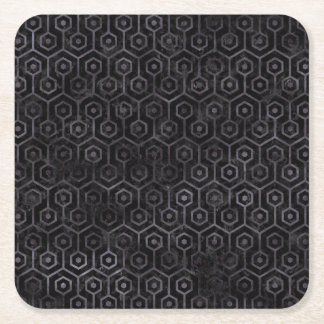 HEXAGON1 BLACK MARBLE & BLACK WATERCOLOR SQUARE PAPER COASTER