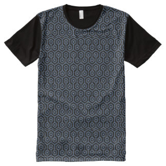 HEXAGON1 BLACK MARBLE & BLUE DENIM All-Over-Print T-Shirt