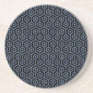 HEXAGON1 BLACK MARBLE & BLUE DENIM BEVERAGE COASTERS