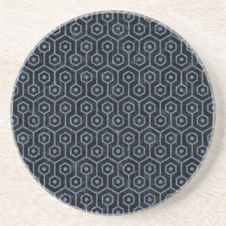 HEXAGON1 BLACK MARBLE & BLUE DENIM COASTER