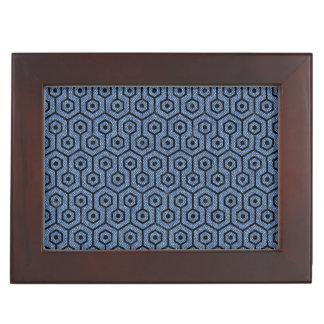 HEXAGON1 BLACK MARBLE & BLUE DENIM (R) KEEPSAKE BOX