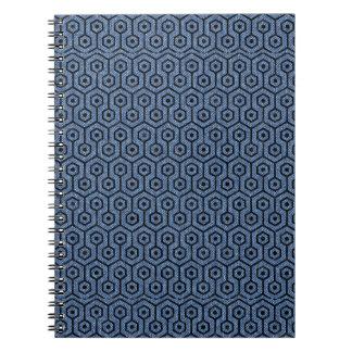 HEXAGON1 BLACK MARBLE & BLUE DENIM (R) SPIRAL NOTEBOOK