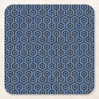 HEXAGON1 BLACK MARBLE & BLUE DENIM (R) SQUARE PAPER COASTER