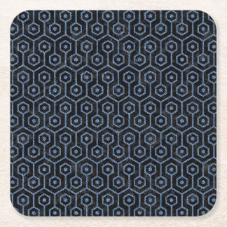 HEXAGON1 BLACK MARBLE & BLUE DENIM SQUARE PAPER COASTER
