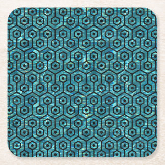 HEXAGON1 BLACK MARBLE & BLUE-GREEN WATER (R) SQUARE PAPER COASTER