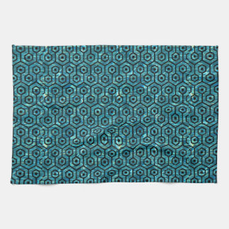 HEXAGON1 BLACK MARBLE & BLUE-GREEN WATER (R) TOWELS