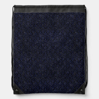 HEXAGON1 BLACK MARBLE & BLUE LEATHER DRAWSTRING BAG