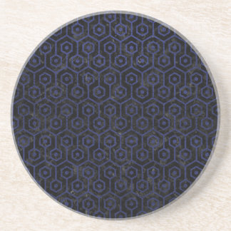 HEXAGON1 BLACK MARBLE & BLUE LEATHER DRINK COASTER