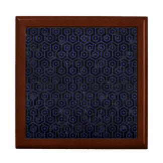 HEXAGON1 BLACK MARBLE & BLUE LEATHER GIFT BOX