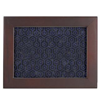 HEXAGON1 BLACK MARBLE & BLUE LEATHER KEEPSAKE BOX