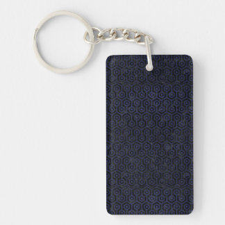 HEXAGON1 BLACK MARBLE & BLUE LEATHER KEYCHAIN
