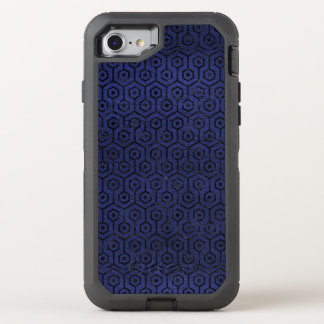 HEXAGON1 BLACK MARBLE & BLUE LEATHER (R) OtterBox DEFENDER iPhone 8/7 CASE