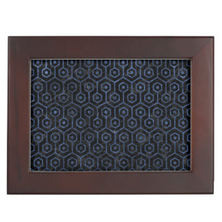 HEXAGON1 BLACK MARBLE & BLUE STONE KEEPSAKE BOX