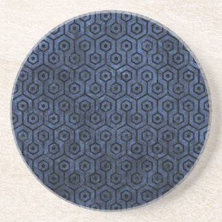 HEXAGON1 BLACK MARBLE & BLUE STONE (R) COASTER