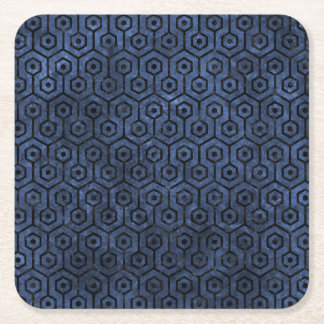 HEXAGON1 BLACK MARBLE & BLUE STONE (R) SQUARE PAPER COASTER