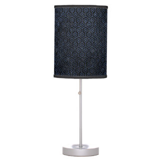 HEXAGON1 BLACK MARBLE & BLUE STONE TABLE LAMP