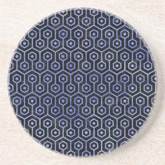HEXAGON1 BLACK MARBLE & BLUE WATERCOLOR COASTER
