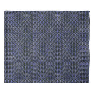 HEXAGON1 BLACK MARBLE & BLUE WATERCOLOR DUVET COVER