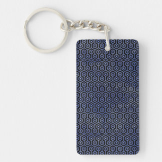 HEXAGON1 BLACK MARBLE & BLUE WATERCOLOR KEYCHAIN