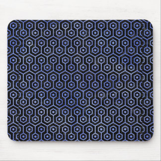 HEXAGON1 BLACK MARBLE & BLUE WATERCOLOR MOUSE PAD