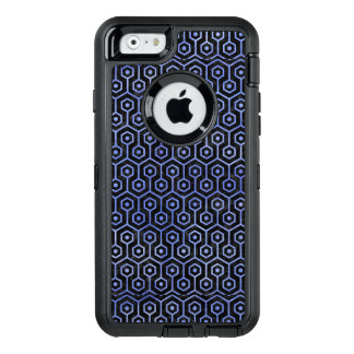 HEXAGON1 BLACK MARBLE & BLUE WATERCOLOR OtterBox DEFENDER iPhone CASE