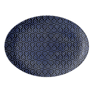 HEXAGON1 BLACK MARBLE & BLUE WATERCOLOR PORCELAIN SERVING PLATTER