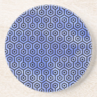 HEXAGON1 BLACK MARBLE & BLUE WATERCOLOR (R) COASTER