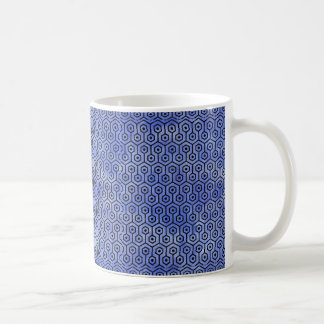 HEXAGON1 BLACK MARBLE & BLUE WATERCOLOR (R) COFFEE MUG