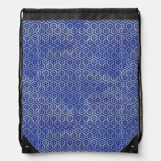 HEXAGON1 BLACK MARBLE & BLUE WATERCOLOR (R) DRAWSTRING BAG