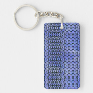 HEXAGON1 BLACK MARBLE & BLUE WATERCOLOR (R) KEYCHAIN