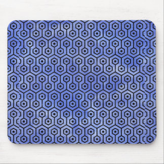 HEXAGON1 BLACK MARBLE & BLUE WATERCOLOR (R) MOUSE PAD