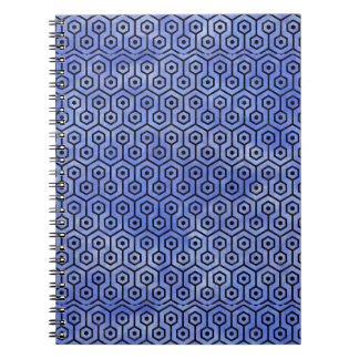 HEXAGON1 BLACK MARBLE & BLUE WATERCOLOR (R) SPIRAL NOTEBOOK