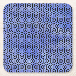 HEXAGON1 BLACK MARBLE & BLUE WATERCOLOR (R) SQUARE PAPER COASTER