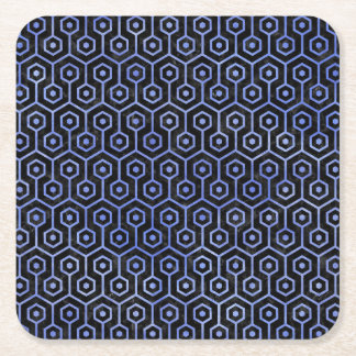 HEXAGON1 BLACK MARBLE & BLUE WATERCOLOR SQUARE PAPER COASTER