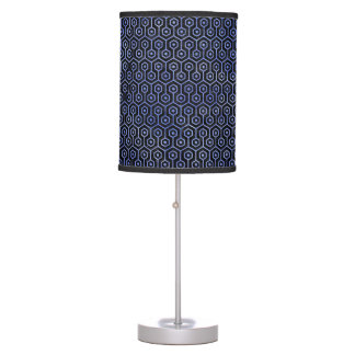 HEXAGON1 BLACK MARBLE & BLUE WATERCOLOR TABLE LAMP