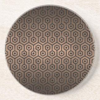 HEXAGON1 BLACK MARBLE & BRONZE METAL (R) COASTER