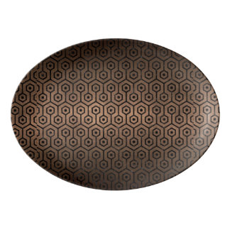 HEXAGON1 BLACK MARBLE & BRONZE METAL (R) PORCELAIN SERVING PLATTER